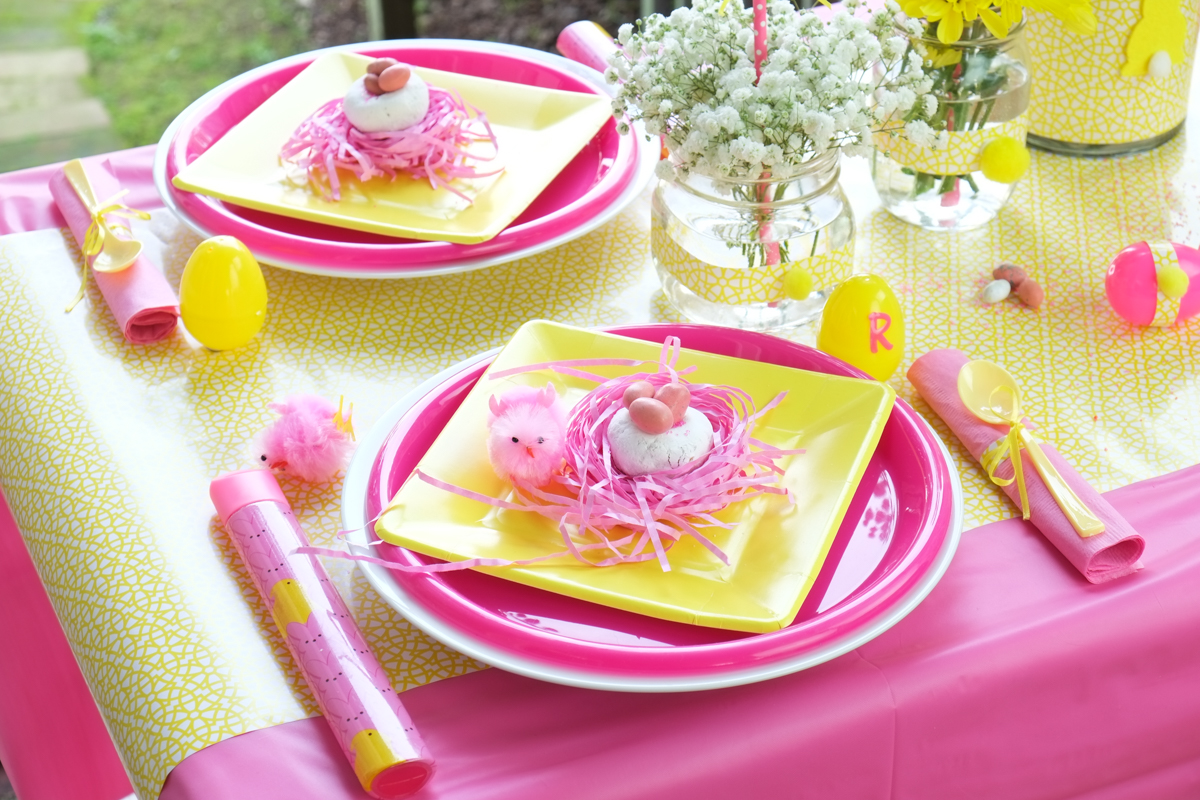 Pink and Yellow Table Setting & How to Create a Kids Easter Table for under $35 | Fern and Maple
