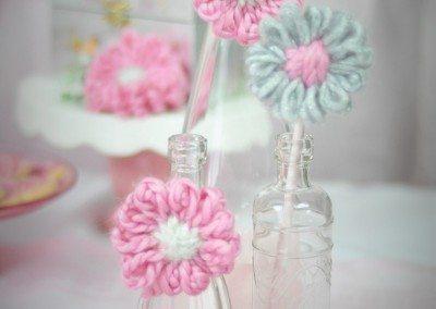 Insert straws in stem vases